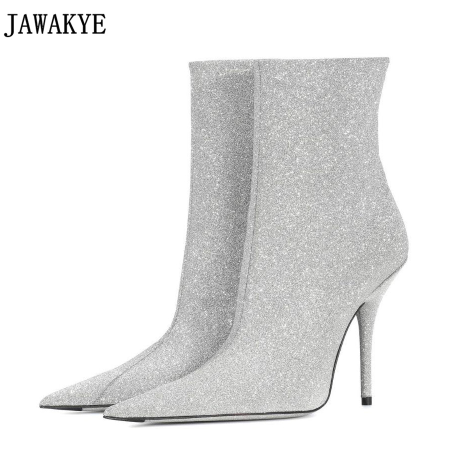 Bling bling sequins Ankle Boots for women 8 cm high heels Short pointed toe  runway style 2018 spring shiny sexy shoes ff733c0923f9