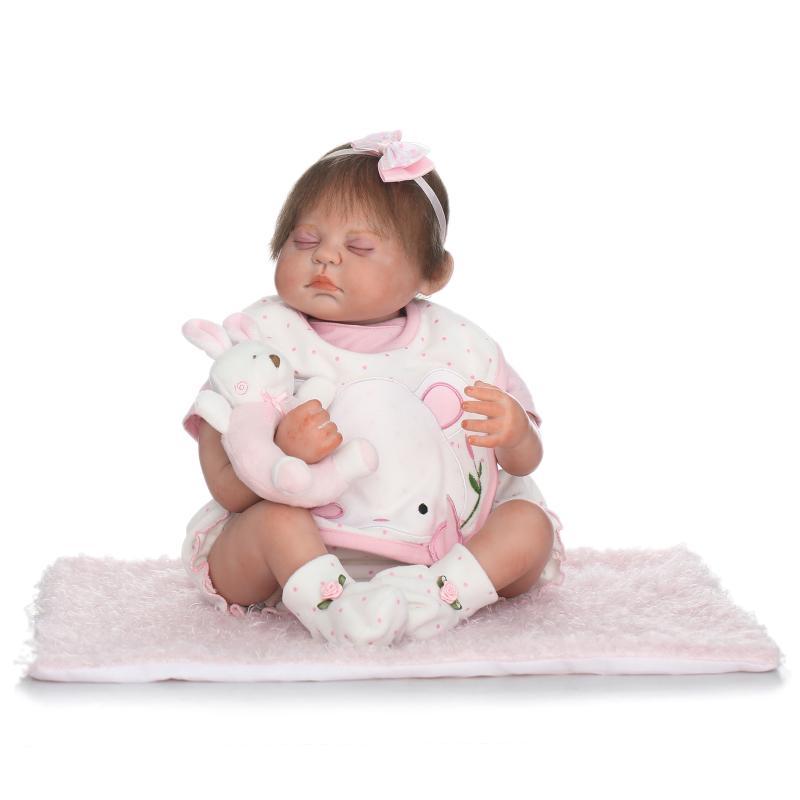 50cm Silicone Reborn Doll Babies Handmade 20inch Newborn Babies Birthday Gifts Toys for Girls Juguetes Brinquedos Plush Rabbit joe and tony plush doll 50cm one piece cartoon movie figures soft toys birthday gifts for girls