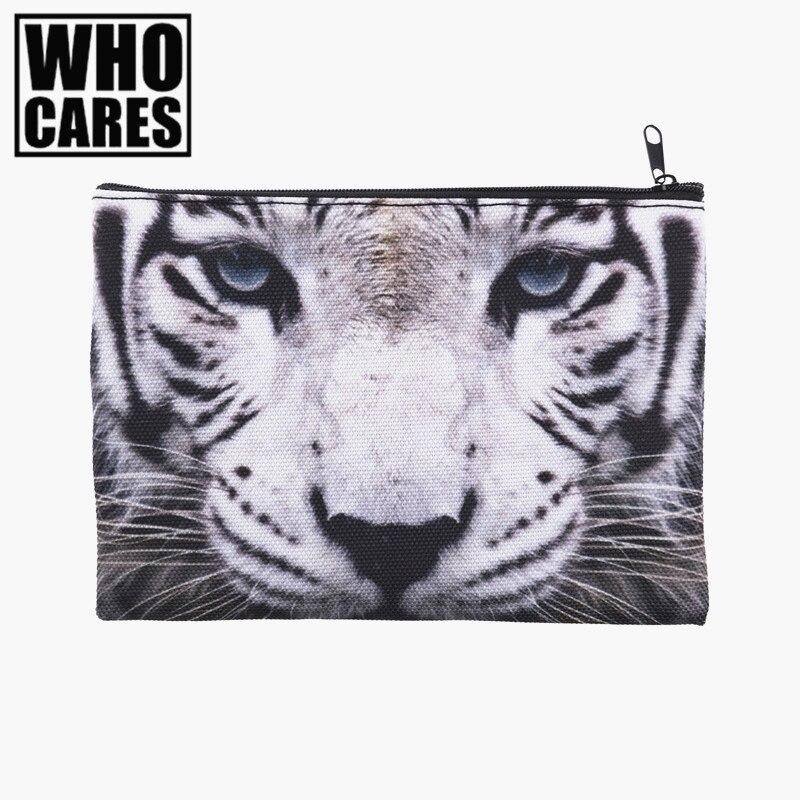 white tiger 3D Printing Pencil bags cosmetic bag 2016 Fashion cosmetiquera makeup bag trousse de maquillage neceser organizer