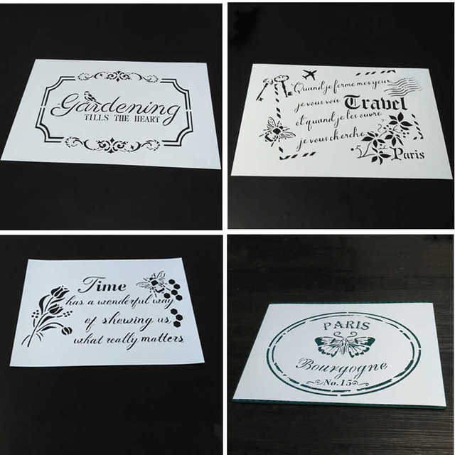 4 designs,TIME,FRENCH LETTER,Vintage Butterfly,GARDENING Stencils for scrapbooking,Stamping,Card Making,Acrylic Painting,4PCS