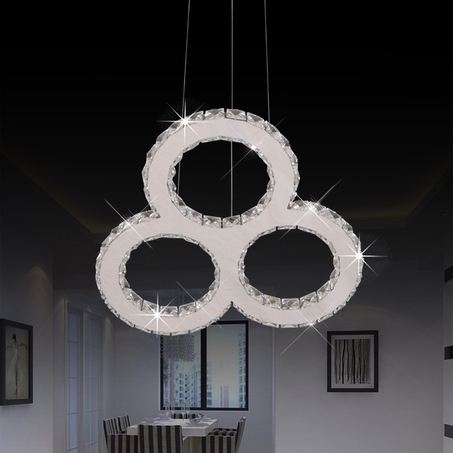 New Stainless Steel Chandelier Lights Simple And Elegant Bedroom Circle Creative Crystal Lamp High Grade Light
