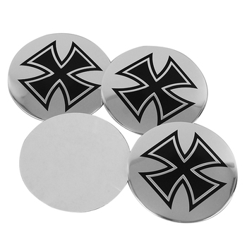 56.5mm Aluminum Cross Car Wheel Center Hub Caps Emblem Sticker For Renault Toyota Vw Passat B6 B5 Skoda Subaru Mazda 3 Bmw E90 image