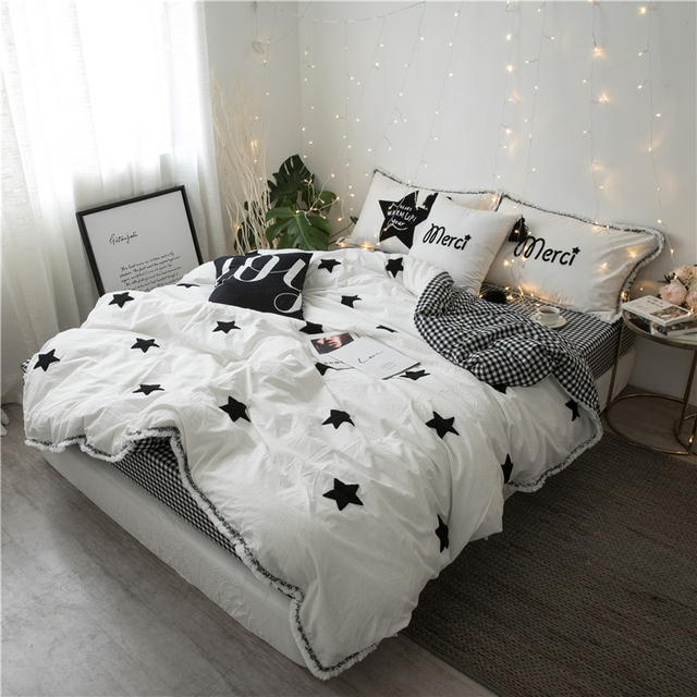 cac2b44a358c 4/6Pcs Washed Cotton Five-pointed star Bedding Set Towel embroidery Tassels  Duvet cover set Bedsheet Pillowcases Queen King Size