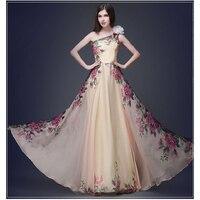 2017 Women One Shoulder Vintage Silk Maxi Summer Laced Flower Print Boho Sexy Dresses Slim Female
