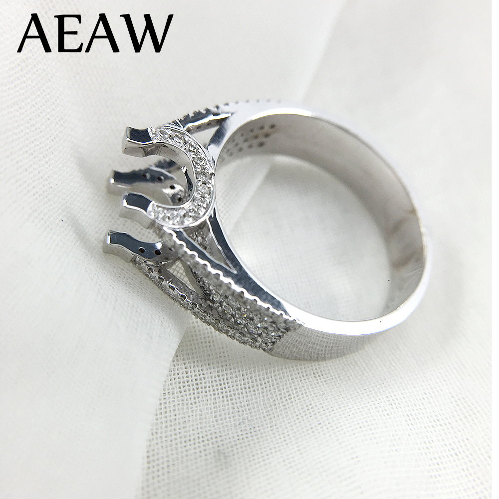 14K White Gold Prong 1ct 6.5mm Round Cut DF Full Moissanite Engagement Ring without Stones Anniversary Ring For Women