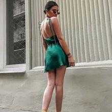 Sexy Satin Silk Backless Bandage Deep V Neck Spaghetti Strap Lace-up Sexy Party Mini Dress