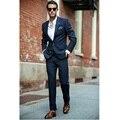 На заказ Новый Мужчин Slim Fit Синий Жених Смокинги Дружки Свадебные Костюмы Формальные Костюмы Нестандартного Размера