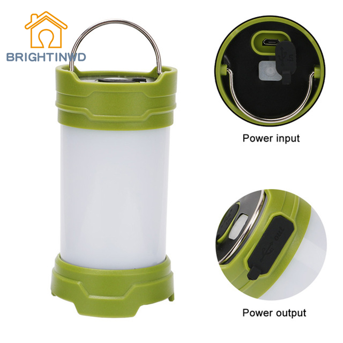 BRIGHTINWD 30 LED Camping Lanterns Tent Light USB Rechargeable Flashlight For Hiking Camping Emergencies Portable Lantern