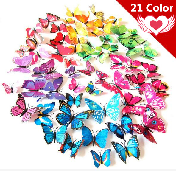 Free shipping 12pcs Art Design 3D Butterfly wedding decor Decal Wall Sticker Home Decor Room Decorations  Z1 rysunek kolorowy motyle