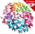 Free shipping 12pcs Art Design 3D Butterfly wedding decor Decal Wall Sticker Home Decor Room Decorations Z1