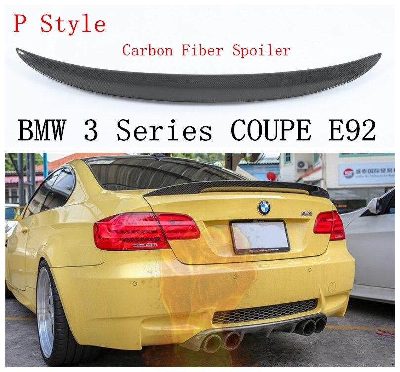 P Style Spoiler En Fiber De Carbone Pour BMW Série 3 COUPÉ E92 M3 320 325 330 335 2006-2013 Haute Qualité Tronc Spoilers Accessoires