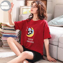 Summer New Knitted Cotton Women #8217 s Pajama Set Couple Cartoon Nightwear Sets Pants Girls Pajama Sets Mujer Sleepwear Home Fashion cheap Pajamas Polyester Letter Short Round Neck 35 Cotton Shorts CLOUDS EXPRESSION pijama mujer pijama Female pajamas women pijamas women