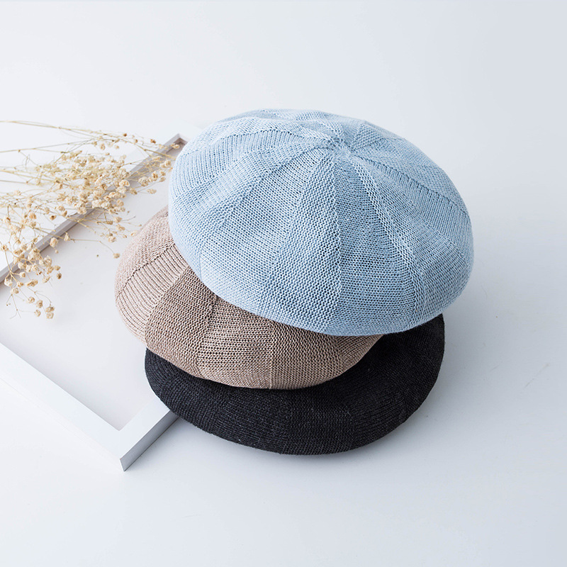 2019 Spring Summer Berets Women Handmade Knitted Female Beret Women Berets Fashion Breathable French Painter Hat Student Berets in Women 39 s Berets from Apparel Accessories
