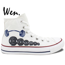 Wen Original Hand Painted Shoes Design Custom Barbell White High Top Men Women's Canvas Sneakers Boys Girls Birthday Gifts