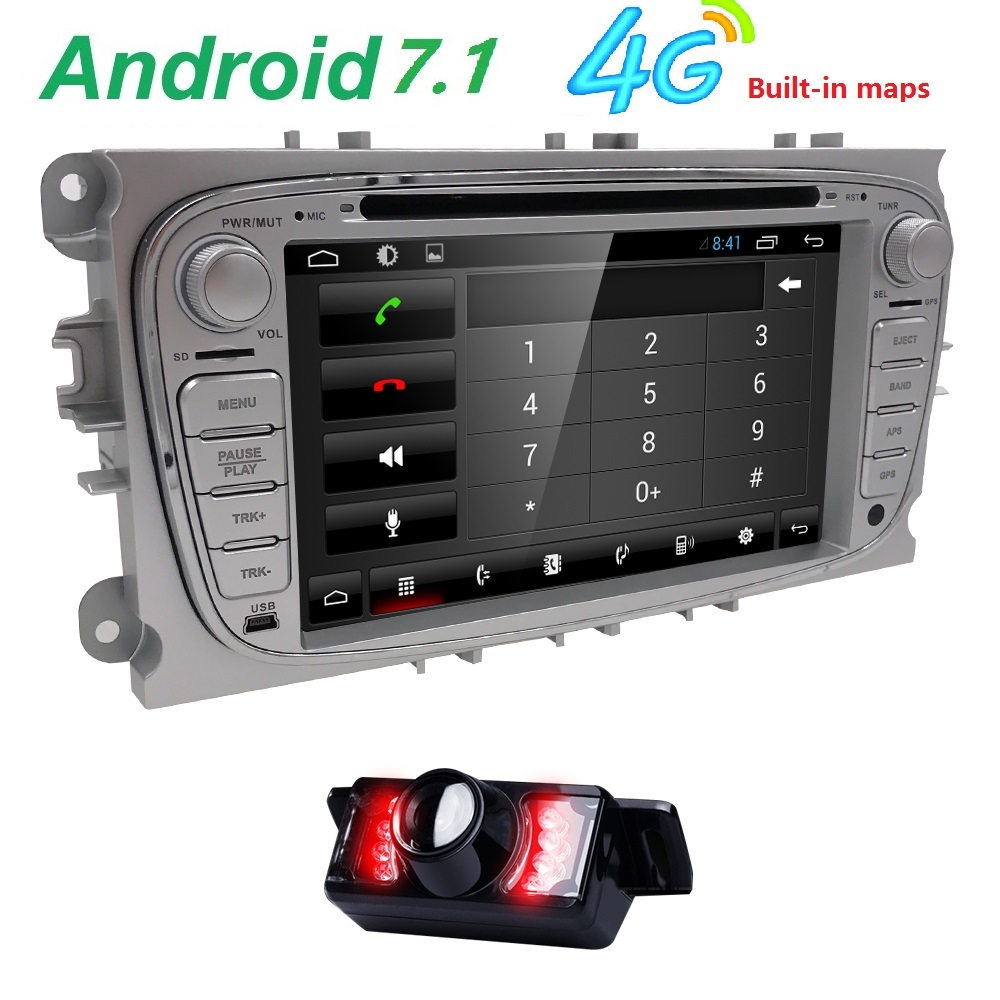 7Quad Core Android 7.1 2 DIN Car DVD Player GPS For Ford Mondeo Focus S-max 1080P Video Bluetooth Autoradio Wifi/4G USB Audio