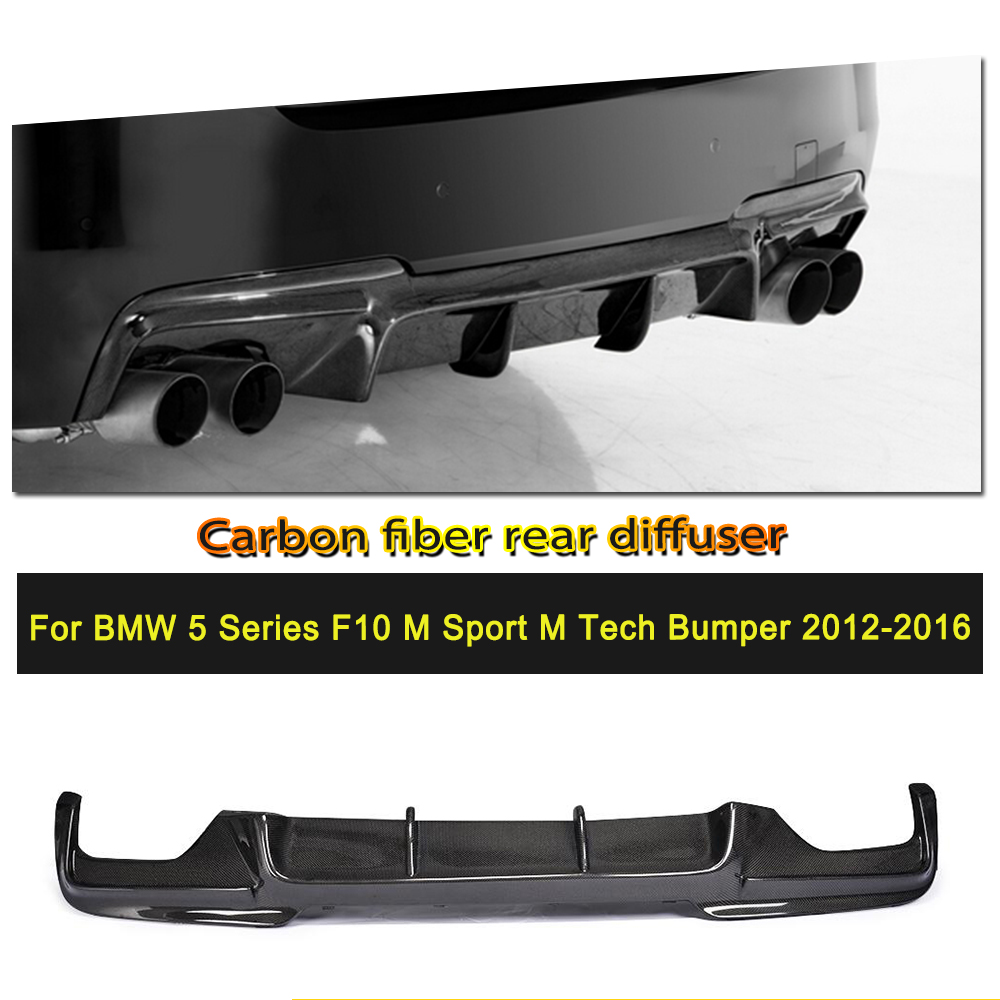 Car-Styling Carbon Fiber / FRP Rear Diffuser Lip for BMW 525i 528i 5 Series F10 M Tech M Sport Bumper Sedan 2012 - 2014 car styling carbon fiber front lip spoiler aron for bmw 5 series f10 m5 bumper only 2012 2016 car accessories