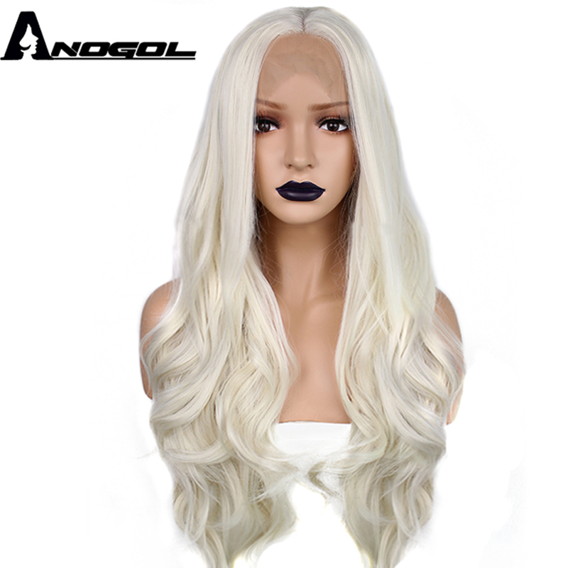 Anogol Moyen Partie Natural Long Corps Vague Platinum Blonde Haute Température Fiber Synthétique Perruque Avant de Lacet Pour Les Femmes Blanches