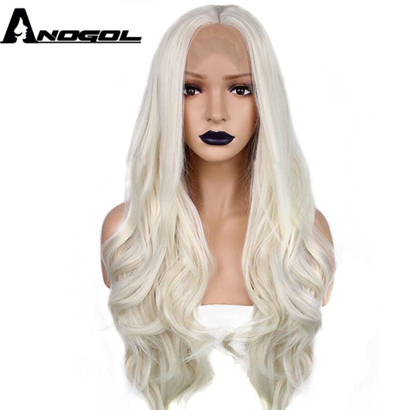 Anogol Oriente Parte Natural Da Onda Do Corpo Longo Platinum Blonde Fibra de Alta Temperatura Sintética Peruca Dianteira Do Laço Para As Mulheres Brancas