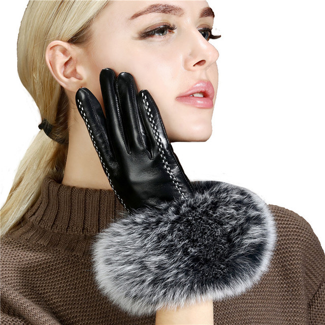 Lady Luxury Fox Fur Sheepskin Gloves Winter Genuine Leather Full Finger Thermal Warm Outdoor Gloves Women Touch Screen Black