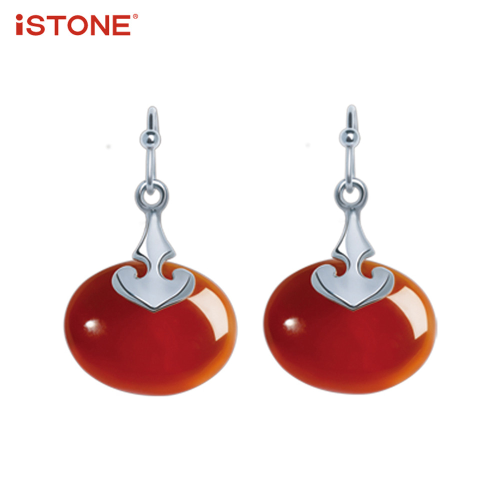 iSTONE 100% Natural Gemstone 925 Sterling Silver Red Agate Drop Earrings Small Bell Shape Fine Jewelry Gift for Woman
