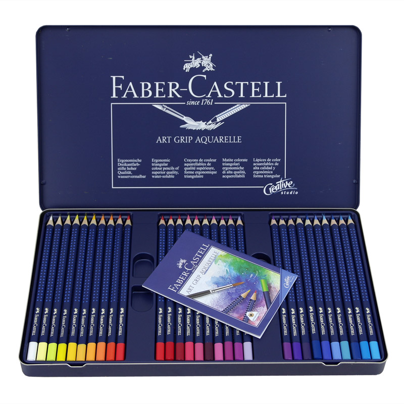Faber-Castell Fashion Blue Wave Point Water Soluble Colored Pencils with Luxury Blue Iron Box Package Artist Colour Pencil Pen цена 2017