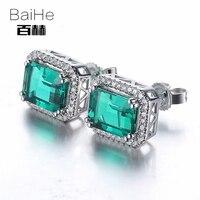 BAIHE Sterling Argent 925 2.95ct Certifié Véritable Traitée Emerald Engagement Femmes Beaux Bijoux Boucles D'oreilles