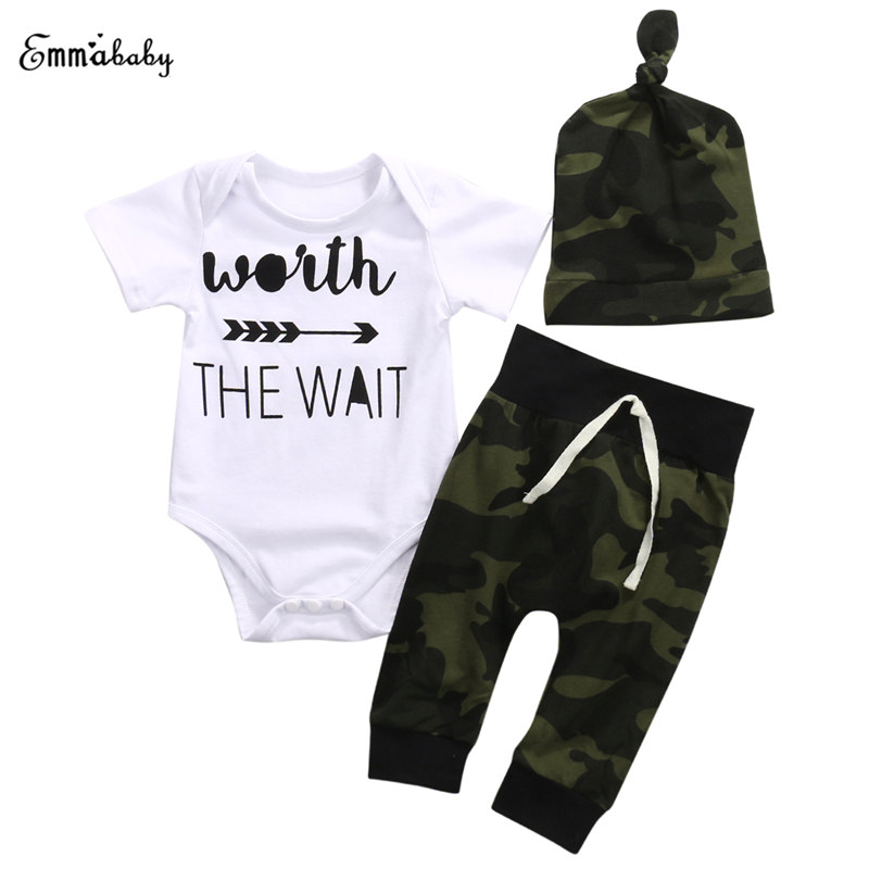 Toddler Lovely Newborn Baby Boys Girls White Infant Short Sleeve Letters Printed Bodysuit Long Camouflage Pants Hat 3pcs winter girls baby boys sneakers first walker shoes small footwear for babies toddler lovely sports new year baby walker 70a1027