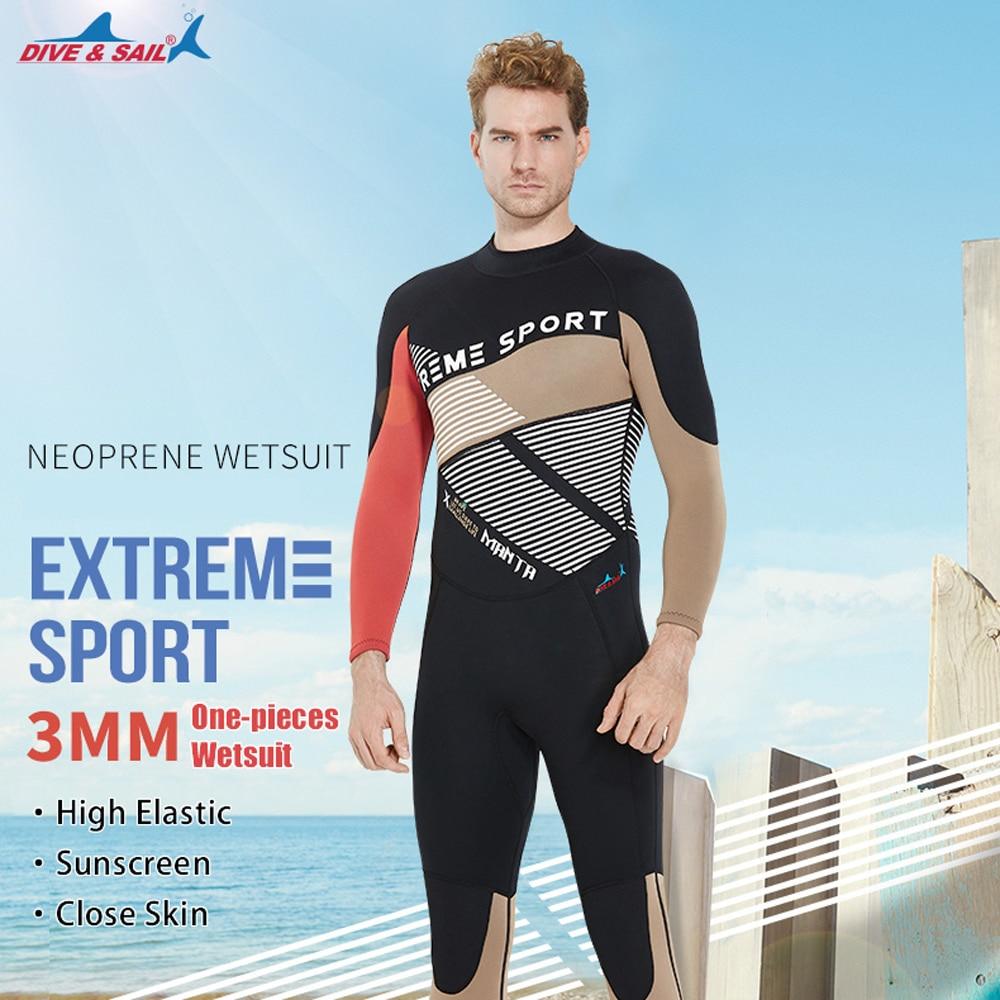 DIVE&SAIL One-pieces Men Scuba Dive Wetsuit 3mm Neoprene Full Body Warm Dive Suit Swimsuit for Winter Swimming dive