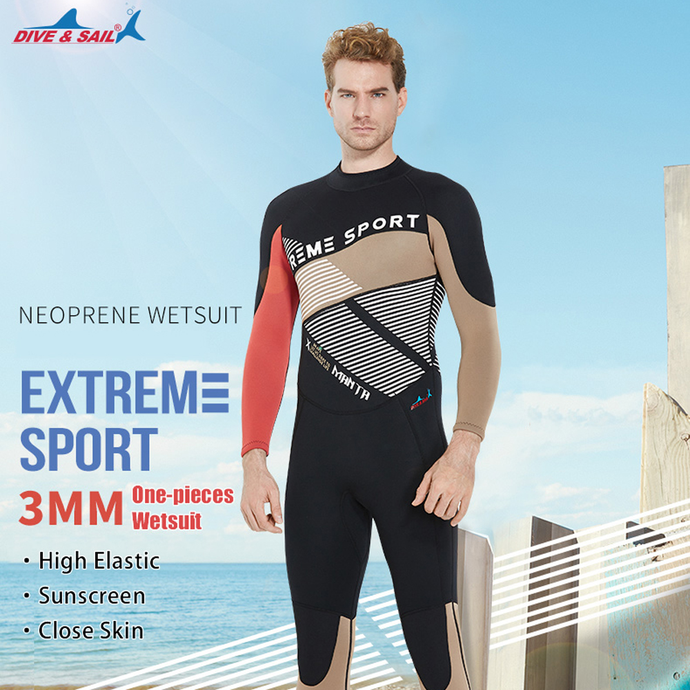 Free Shipping DIVE&SAIL One-pieces Men Scuba Dive Wetsuit 3mm Neoprene Full Body Warm Dive Suit Swimsuit for Winter Swimming