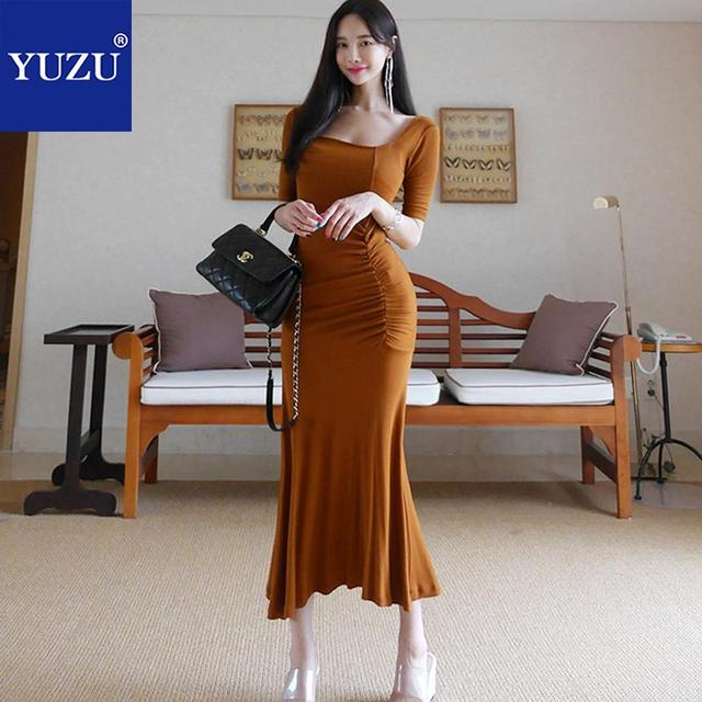77f0e17ae334 Maxi Dress Brown Knit Cotton Office Lady Mermaid Solid Half Sleeve Ruffles  Ankle-length Square Collar Summer Casual Dresses