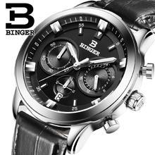 2017 suisse de luxe hommes de montre binger marque quartz pleine inoxydable montres chronographe diver horloge b9011-4