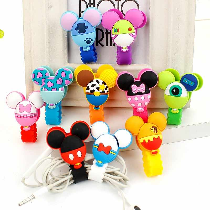 2018 New Cartoon Headphone Cord Holder Management Earphone Cable Clip Wire Organizer USB Charger Cable Winder Protect Best Gift