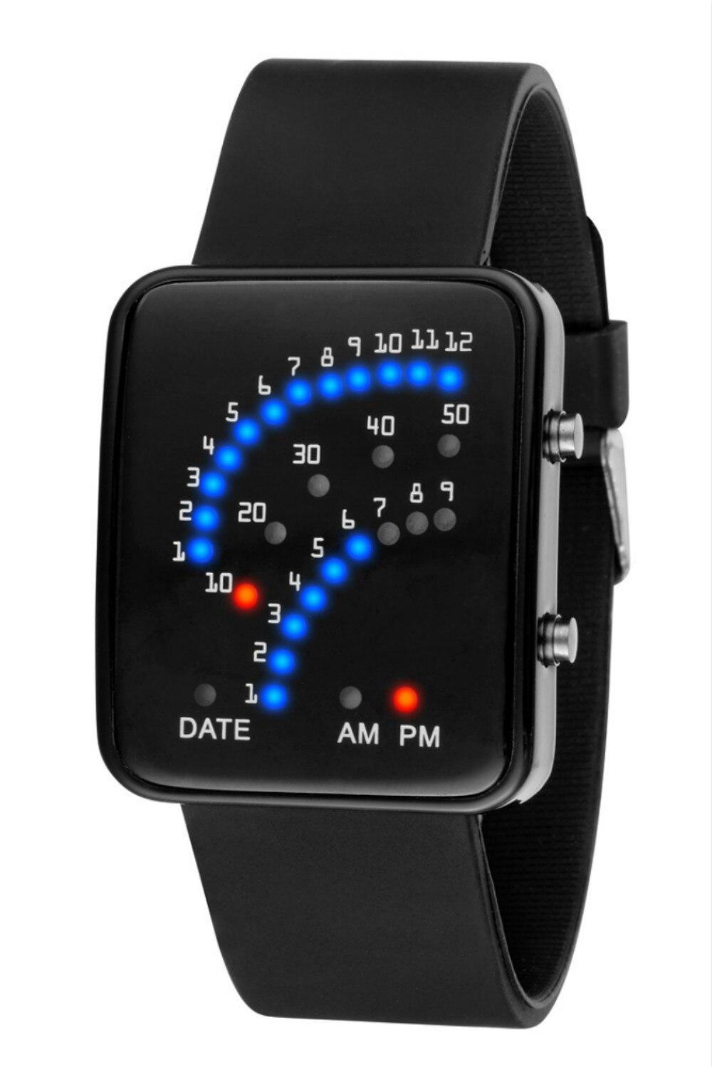 Nouvelle LED Numérique Montres pour Hommes Garçon Binaire Secteur Cadran Silicone Montre-Bracelet pour Hommes Horloge Minuterie relogio masculino Noir Blanc