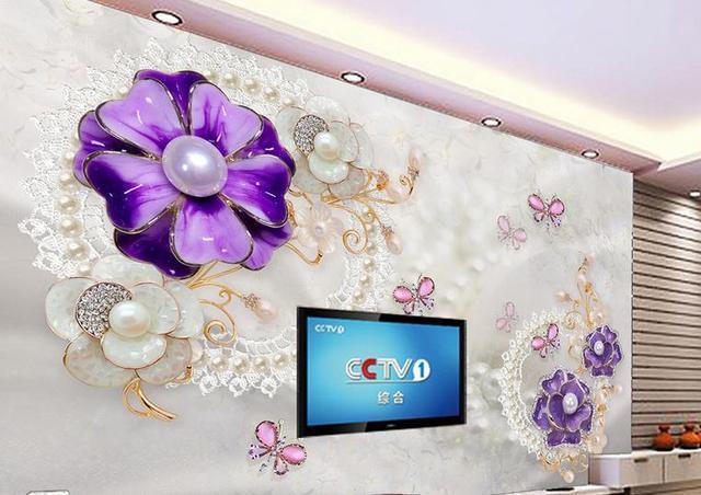 Benutzerdefinierte 3D tapete Luxus Lila schmuck blumen TV Wand ...