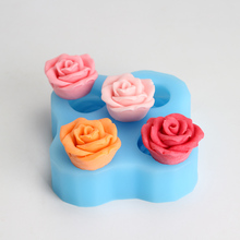 Silicone Soap Mold 4 Holes 3D Rose Flower Shaped Handmade Chocolate Craft Molds Candy Decorating Tools