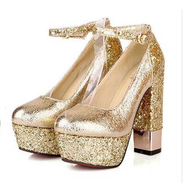 Fashion high-heeled shoes thick heel platform champagne color wedding shoes  bridal shoes gold formal c5f551d8db68