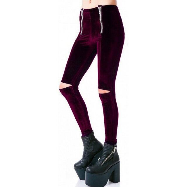 spring autumn new European and American women fashion leggings double zipper Korea velvet slim  pants feet hole female