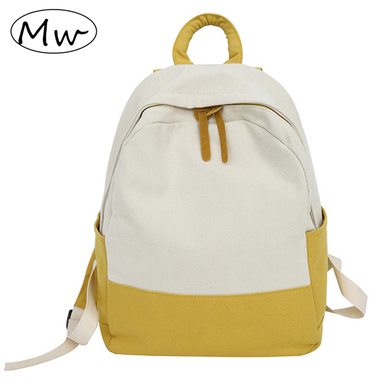 Moon Wood Casual Two Color Patchwork Backpack Unisex Boys School Bags Canvas Backpacks For Adolescent Girls Sac A Dos Femme 2019