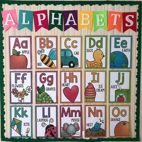 alfabeto ingles cartao de aula do jardim de infancia cartaz a4 cartao grande desenvolvimento precoce