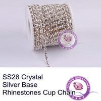 F660114 Кристалл цепь 888 Rhinestone цепь чашки CPAM БЕСПЛАТНО SS28 кристально чистый камень Серебро база MOQ 10 двор/рулон редкие коготь