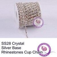 F660114 Crystal Chain 888 Rhinestone Cup Chain CPAM FREE SS28 Crystal Clear Stone Silver Base MOQ