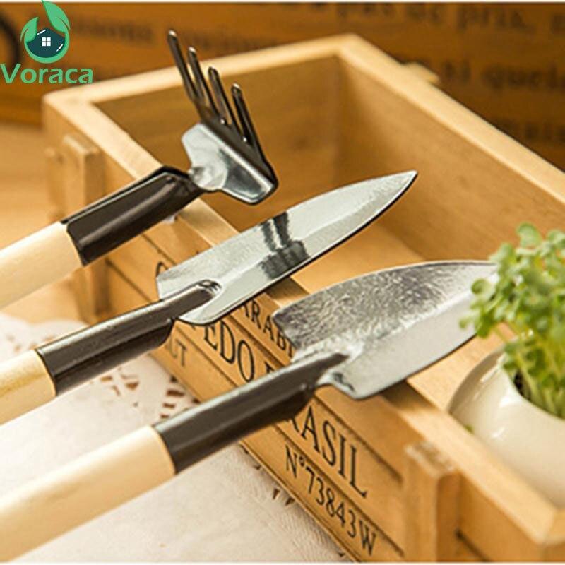 3Pcs/Set Small Shovel Mini Gardening Tools Spade Wood Handle Metal Head Bonsai Tools Handmade Plant Planting Tool
