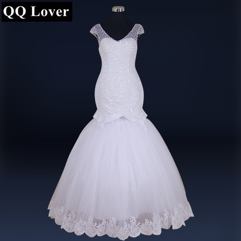 QQ Lover 2018 New African Mermaid Wedding Dress With Video Plus Size Bridal Gown Vintage Lace Up Short Sleeve Vestido De Noiva