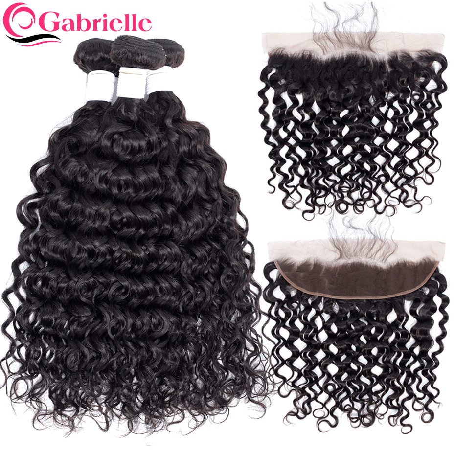 Gabrielle Brazilian Water Wave Bundles with Frontal Closure 13x4 Natural Color 100% Non Remy Human Hair Weaves Free Shipping-in 3/4 Bundles with Closure from Hair Extensions & Wigs    1
