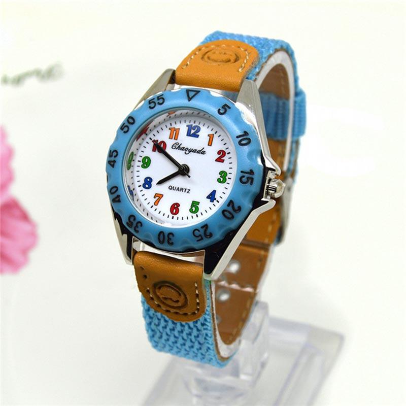 Cute Boys Girls Quartz Watch Cartoon Kids Children Fabric Knit Watch Band Strap Student Wrist Watch Clock Wristwatch Gift SL