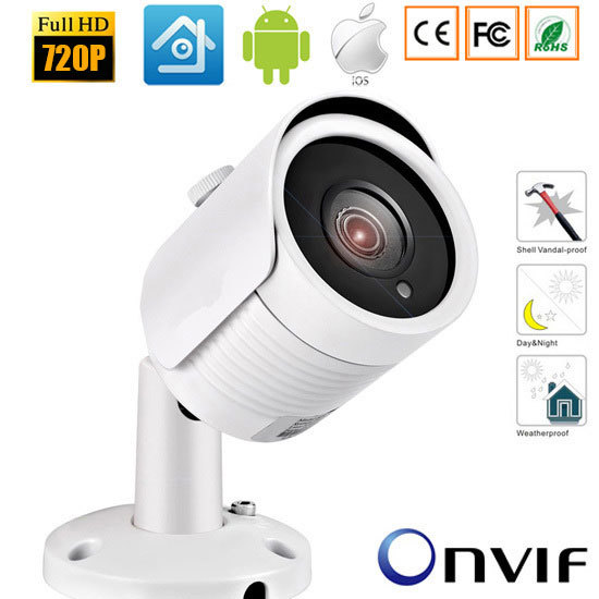 1.0MP / 2MP Bullet 720P IP Camera 1080P Outdoor IR 20m HD Security Waterproof Night Vision P2P CCTV IP Cam ONVIF IR Cut XMEye wistino cctv camera metal housing outdoor use waterproof bullet casing for ip camera hot sale white color cover case