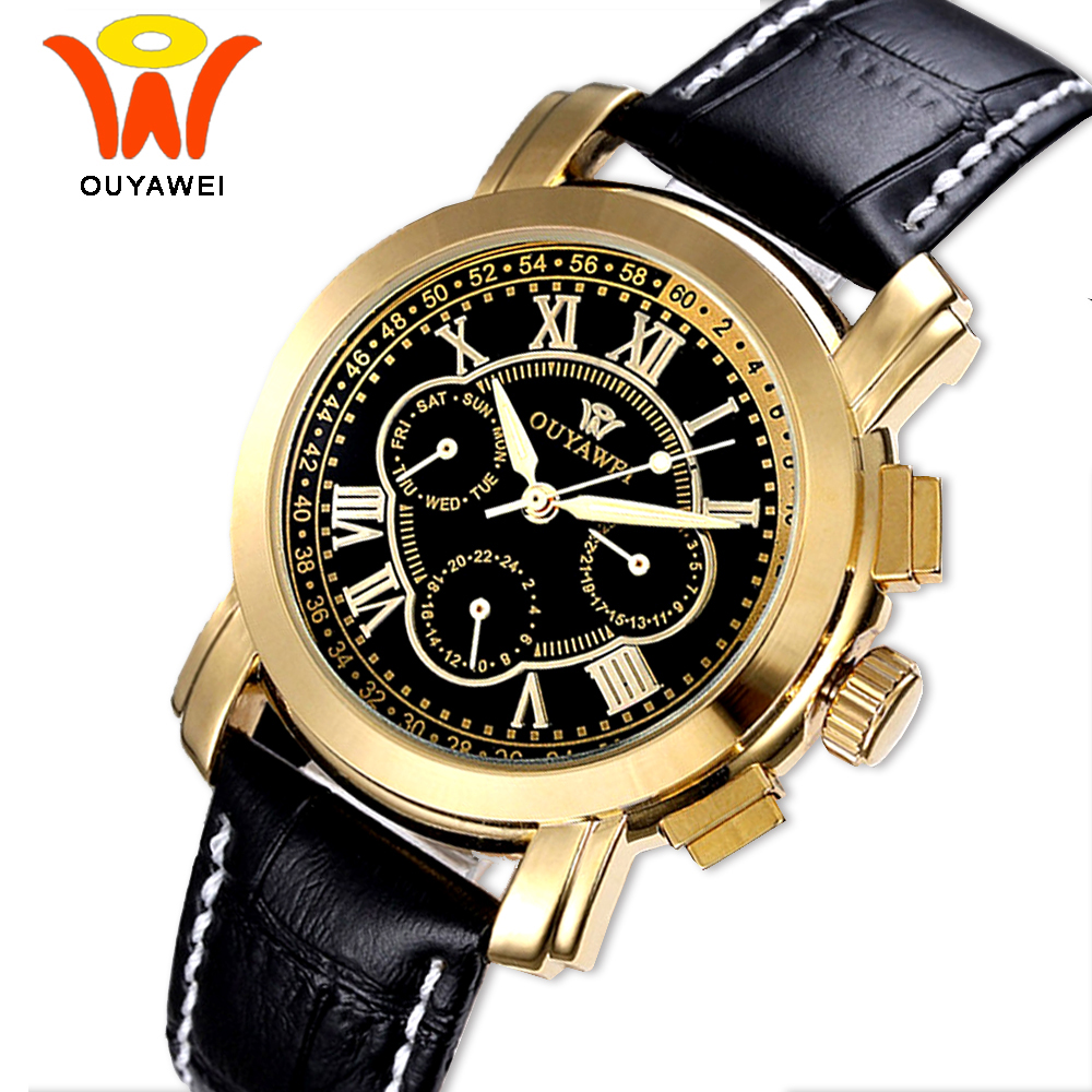 Ouyawei Luxury Automatic Gold Self Wind Auto Date Watch Men Mechanical Black Leather Relogio Automatico Masculino Wrist Wathes original binger mans automatic mechanical wrist watch date display watch self wind steel with gold wheel watches new luxury