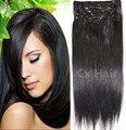 Envío gratis grueso cabeza llena de seda suave remy brasileña del pelo humano Clips en / sobre extensiones 12 unids Set 300 g 20 colores #1b