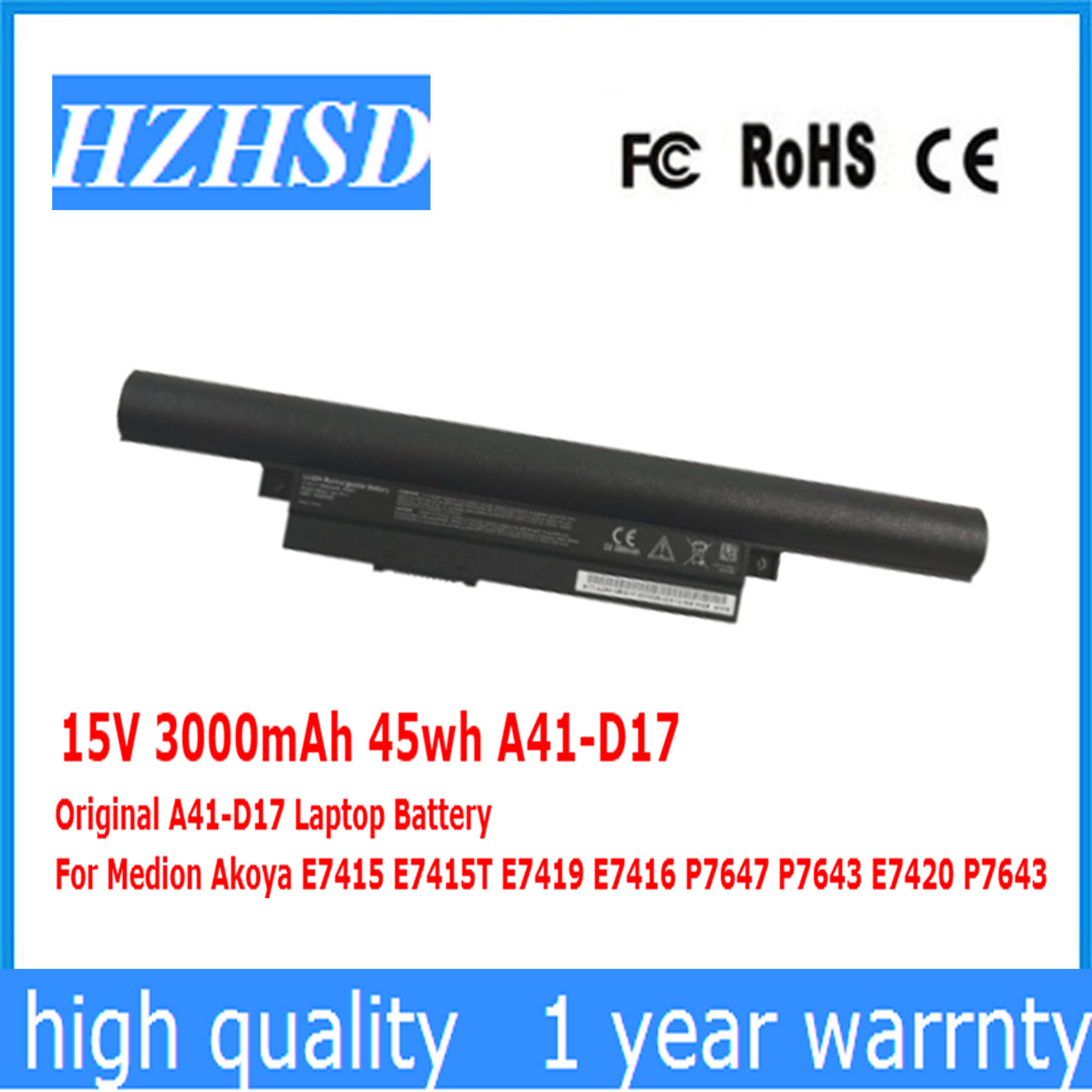 15 V 3000 mAh 45wh A41-D17 D'origine A41-D17 batterie d'ordinateur portable Pour Medion Akoya E7415 E7415T E7419 E7416 P7647 P7643 E7420 P7643