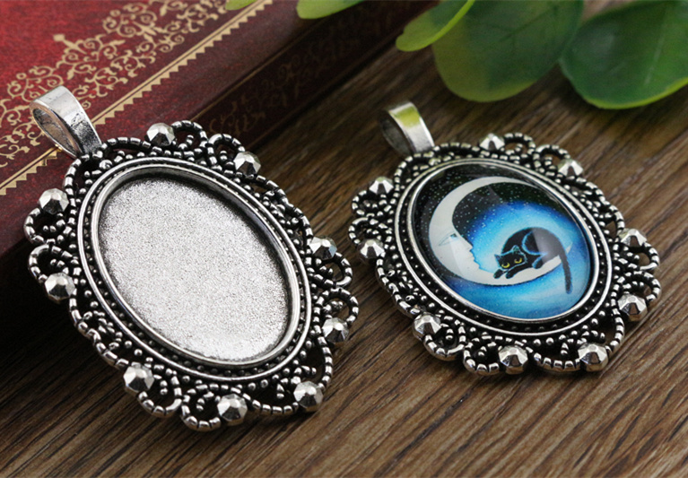 3pcs 18x25mm Inner Size Antique Silver Flowers Style Cameo Cabochon Base Setting Charms Pendant Necklace Findings  (C2-40)